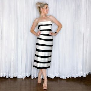 BCBGMaxAzria Dresses - BCBG White Black Stripe Fancy Midi Dress